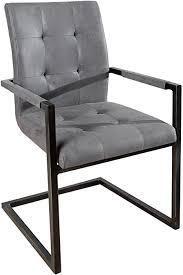 invicta interior design freischwinger stuhl oxford mit armlehne antik grau vintage gestell eisen schwarz armlehnenstuhl freischwingerstuhl