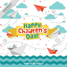 Childrens Day Enjoyable Background Of Sea With Boats And Origami Airplanes