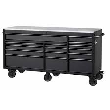 Husky 72 In. W X 24 In. D 15-Drawer Mobile Workbench With Stainless ...