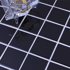 wholesale glazed porcelain brick tile mosaic black square surface