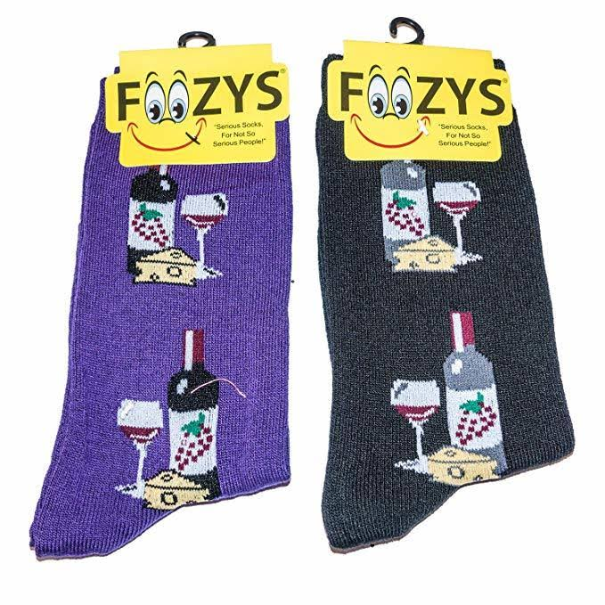 Foozys Brand Ladies Wine & Cheese Novelty Crew Socks