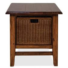 rectangular cocktail table with 2 removable wicker storage baskets