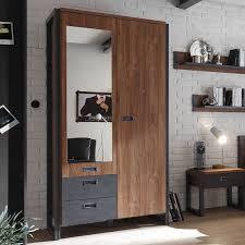 schlafzimmer dallas 61 komplettset im industrial stil mit absetzungen in matera anthrazit und dekor stirling oak nb b h t ca 260x202x60 209cm