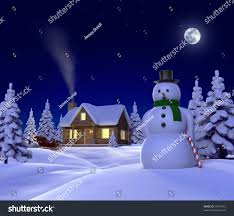 Frosty Snowman White Christmas Tree by Christmas Themed Snow Scene Showing Snowman Stock Illustration