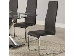 100 Black Leather Side Dining Chairs Coaster Modern 100515BLK Faux Chair With