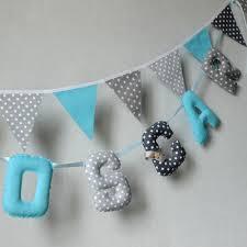 lettre decorative pour chambre bébé banderole prénom garçon tissus lettres guirlande prénom
