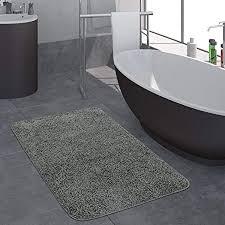 paco home moderner badezimmer teppich einfarbig hochflor badteppich rutschfest in grau grösse ø 80 cm rund