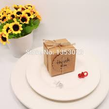 100pcs Lot Rustic Wedding Decor Kraft Paper Candy Box With Thank You Tag For