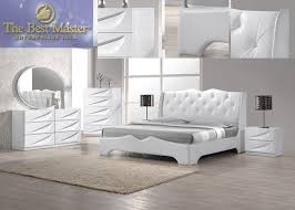 Bedroom Luxury Modern 4 Pieces Madrid White Lacquer King Bedroom