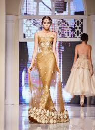 2017 elie saab gold dresses evening wear sequined mermaid sheer