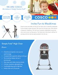 Cosco Flat Fold High Chair by Amazon Com Cosco Simple Fold High Chair Sets Up In Seconds