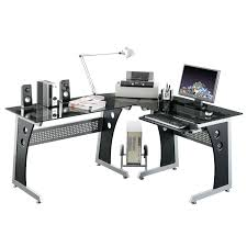 modern l shaped computer desk in metal frame with black glass top