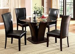 5PCS DINETTE SET GLASS TOP TABLE 4 BLACK SEAT CHAIRS