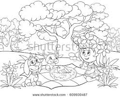Coloring Pagebook For Children Activitycartoon StyleGirldogcat