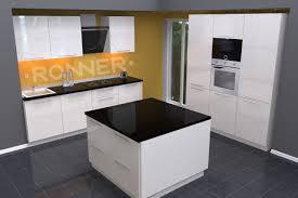 küche mit insel hochglanz weiß
