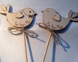 Rustic Chic Wedding Cake Topper Bird