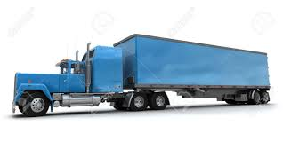 100 Big Blue Truck Lateral View Of A Trailer Against White Background