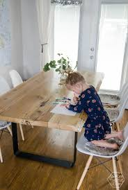 Description Diy Live Edge Wood Dining Room Table With Steel Legs