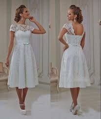 Vintage Lace Tea Length Short Wedding Dresses 2017 With Cap Sleeves