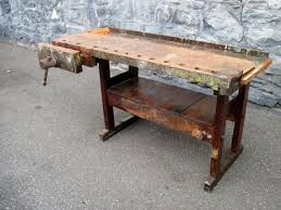 Antique Carpenters WoodWorking Bench Kitchen Island Wood Working Work Workbench TV Console