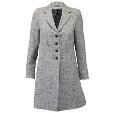 ladies coat womens jacket wool look military long button warm