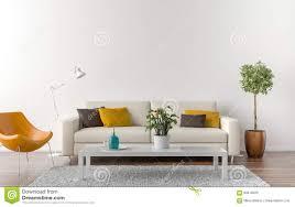 leeres wohnzimmer mit weißer wand im hintergrund stock
