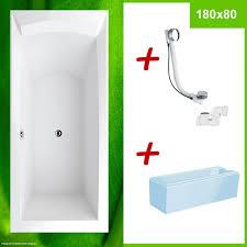 tiefe badewanne 180 mit wannenträger und ablauf komplett set porta 180 r