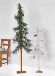 White And Green Pine Skinny Christmas Trees