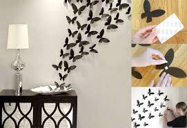 Wall Art Ideas Design Butterflies Black Decor Flying Diy Handmade Paper Contemporary Stained Wooden Table Lamp Wonderful