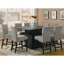 Coaster Casual Modern Black Dining Table Set 9pcs Dinette Counter Height Grey Microfiber Cushioned