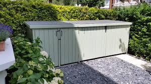 Rubbermaid Patio Storage Bins by Beautiful Wooden Bike Shed With Additional Wheelie Bin Storage