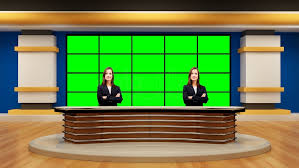 News 046 TV Studio Set Virtual Green Screen Background PSD