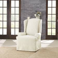 Fingerhut - Sure Fit Ticking Stripe Wing Chair Slipcover