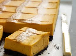 Pumpkin Cheesecake Gingersnap Crust Caramel by Pumpkin Cheesecake Bars With Caramel Swirl Recipe Justin Chapple