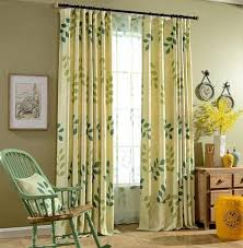 green leaves printed living room window curtain semi blackout