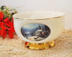 Thomas Kinkade Centerpiece Bowl Teleflora Porcelain Sunday Evening Sleigh Ride