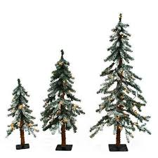 Flocked Artificial Christmas Trees Sale by Alpine Christmas Trees Prelit Opulent Set Of 3 Alpine Christmas