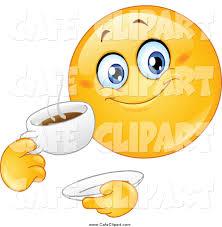 Happy Emoticon Drinking Coffee
