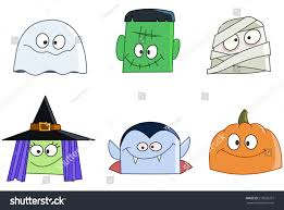 Vampire Pumpkin Designs by Halloween Characters Faces Set Ghost Green Stock Vector 219026257