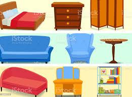 möbel interieur symbole wohndesign modernen wohnzimmer haus sofa komfortables apartment vektorillustration stock vektor und mehr bilder