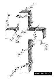 Draw Cross Ivy Leaf Tattoo Graphic Design