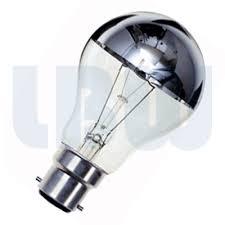 crown silver standard shape light bulb 60w bayonet bc b22 cap