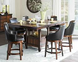 Dining Tables Pub Height Table Counter Vintage Style Of Dark Brown