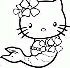 Hello Kitty Wearing A Costume Mermaid Coloring Page