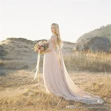 Lace Bohemian Wedding Dresses With 1 2 Sleeves Plunging Neckline Flowing A Line Simple
