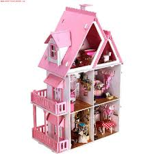 Hoomeda Diy Dream House Wood Dollhouse Miniature With Ledfurniture