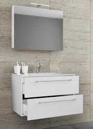 vcm 3 tlg waschplatz badmöbel badezimmer set waschtisch waschbecken schubladen keramik badinos spiegelschrank breite 80 cm weiß