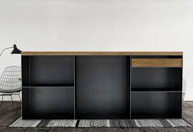 kommode sideboard classic 001 schwarz grau eiche metall stahlzart