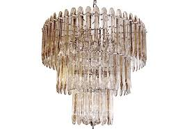 1960 s Mid Century Modern Beveled Crystal Chandelier