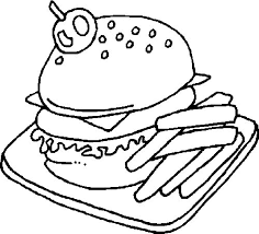 Food Coloring Pages Hamburger And French Fries